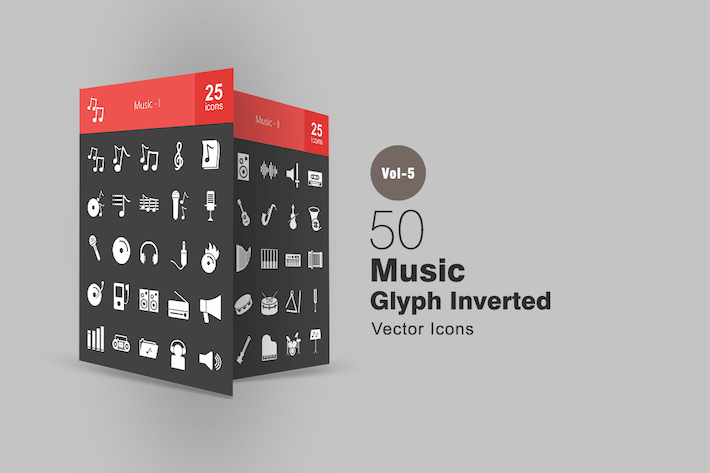 Thumbnail for 50 Music Glyph Inverted Icons