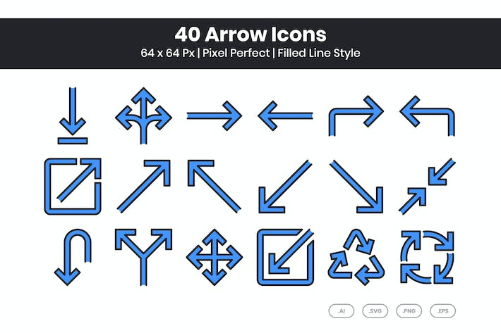 40 Arrow Icons Set - Filled Line