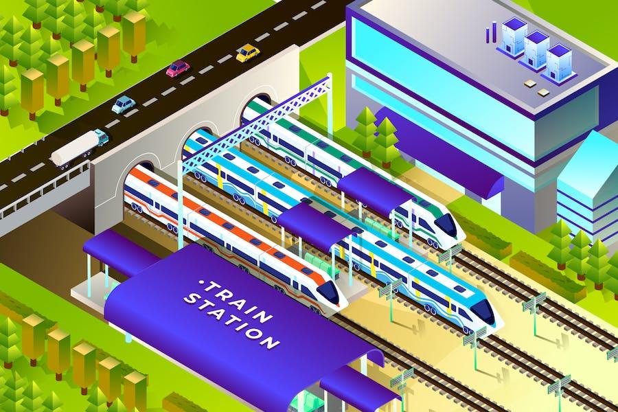 Железнодорожный вокзал - Изометрическая Вектор иллюстрация
