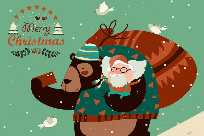 Cover Image For Funny bear taking selfie with happy Santa Claus