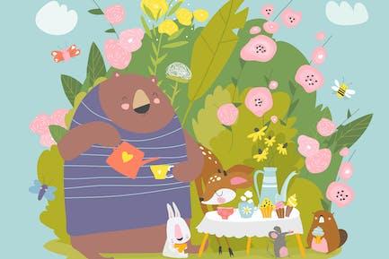 # иллюстрация2020 Смешные животные пьют чай