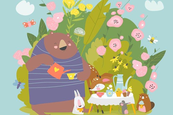 # illustration2020 Animaux drôles boire du thé
