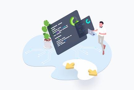 Blockchain Platform Mainnet Isometric