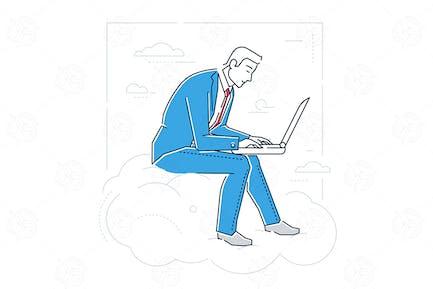 Geschäftsmann mit einem Laptop - lineare Illustration