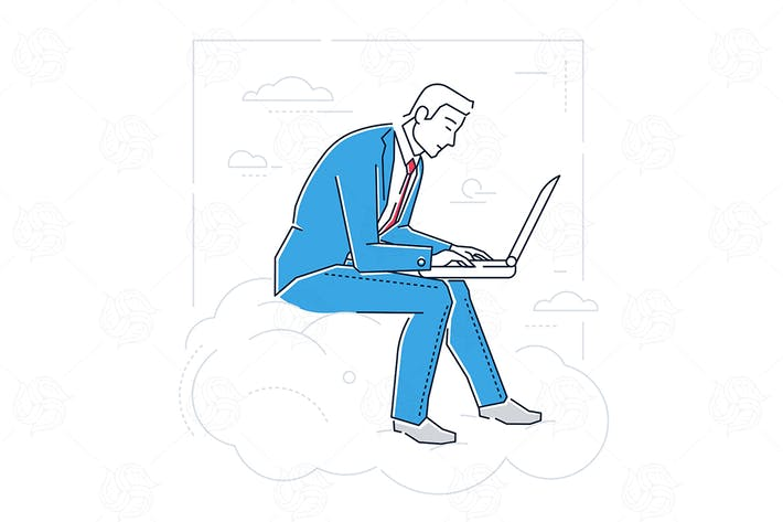 Thumbnail for Businessman with a laptop - linear illustration