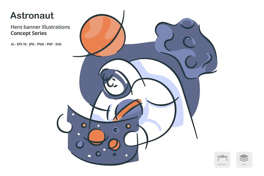 Astronaut Occupation Vector Illustration