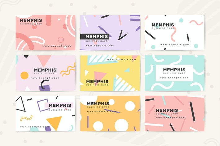 Cover Image For Memphis name card design vector
