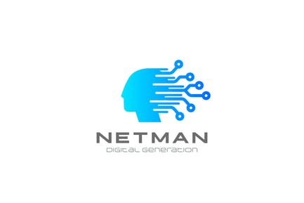 Logo Artificial Intelligence Generation Chip Head