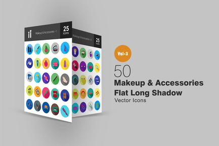 50 Makeup & Accessories Line Icons
