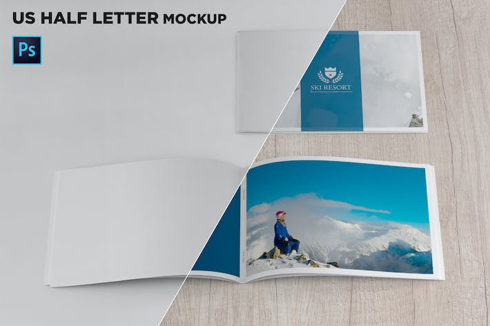 Thumbnail for US Half Letter Cover & Open Pages Mockup