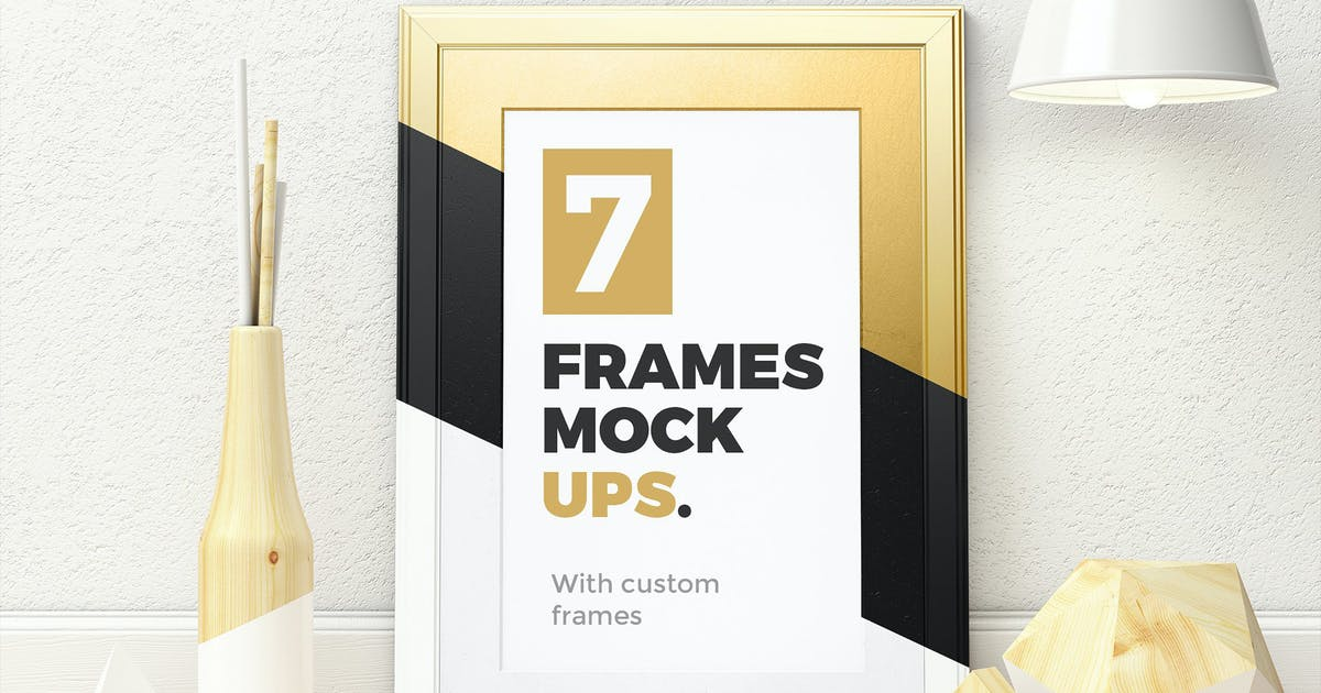 Download 7 Frames Mockups with custom frames by Kavoon