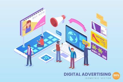 Concepto de Vector de publicidad Digital isométrica