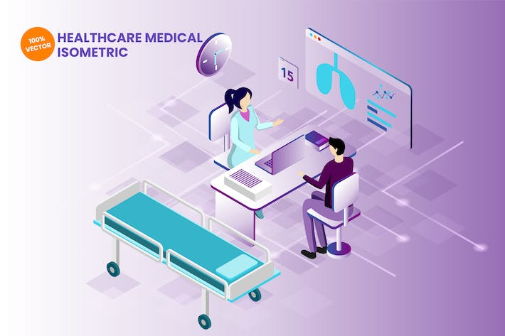 Thumbnail for Isometric Healthcare Medical Vector Illustration