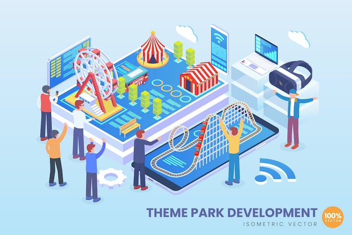 Cover Image For Isometric Theme Park Development Vector Concept