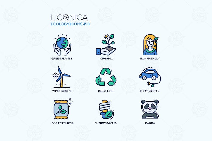 Thumbnail for Green Ecology - coloured modern line icons set