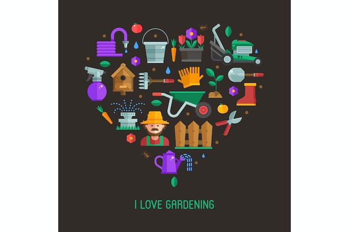 Love Gardening Herzförmiger Druck