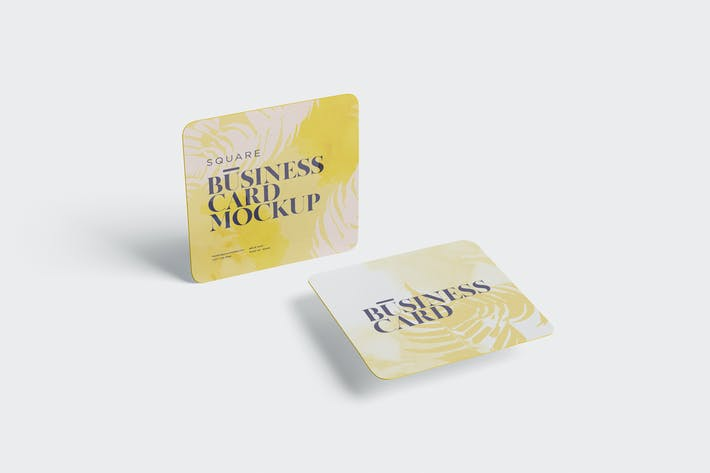 Thumbnail for Business Card Mockup - Square Round Corner