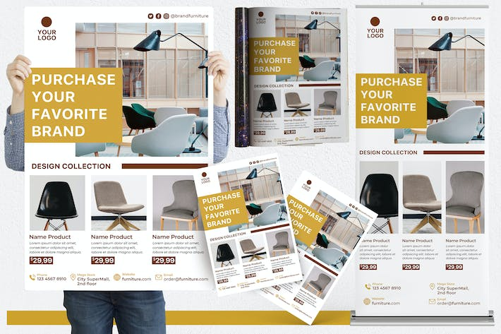 Thumbnail for Furniture #01 Print Templates Pack