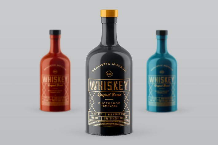 Thumbnail for Whiskey Bottle Mock-up Template