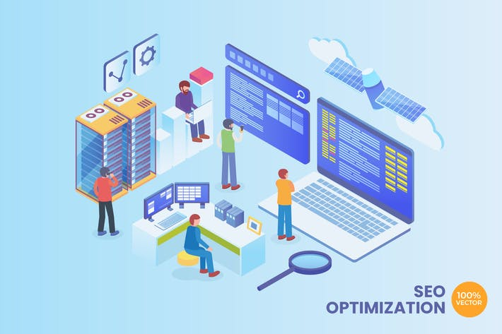 Thumbnail for Isometric SEO Optimization Vector Concept