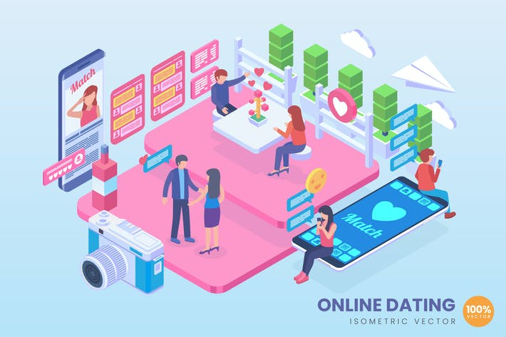 Thumbnail for Isometric Online Dating Vector Concept