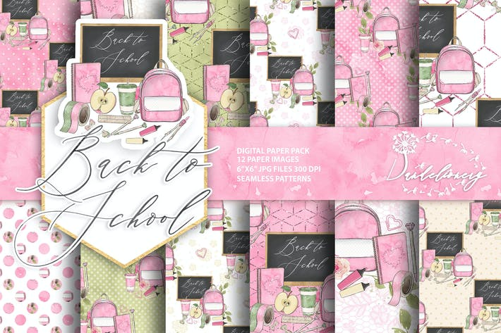 Thumbnail for Back to School digital paper pack