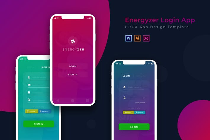 Thumbnail for Energyzer Login | App Design Vorlage