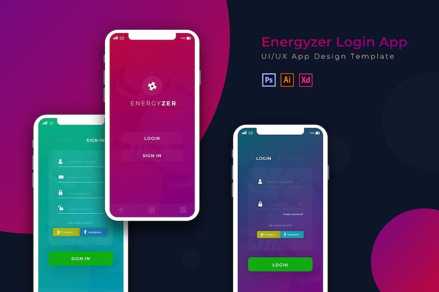 Energyzer Login   App Design Template