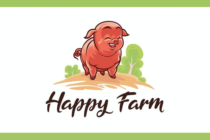 Thumbnail for Cartoon Happy Farm Pig Mascot Logo