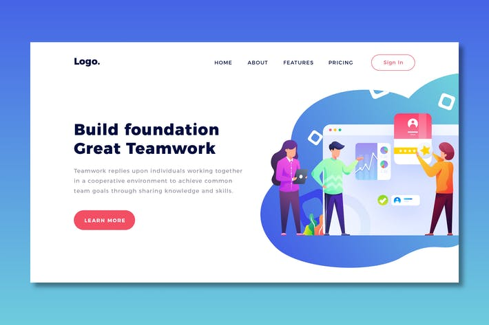 Thumbnail for Teamwork - Landing Page Template