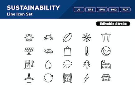 Icon-Set für Nachhaltigkeit