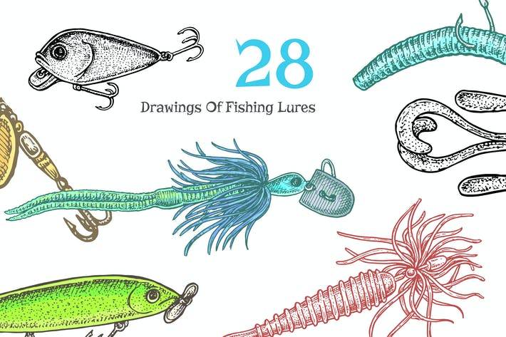 Thumbnail for Fishing Lures Vector Set