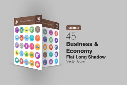 45 Wohnung Business & Economy Long Shadow Icons
