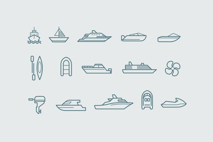 Thumbnail for 15 Boat Icons