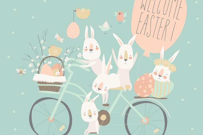 Easter bunnies and easter eggs. Vector illustratio