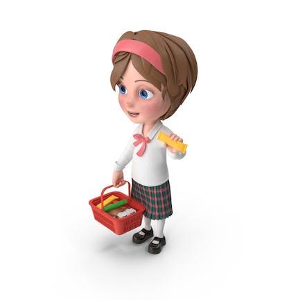 Cartoon Mädchen Meghan Einkaufen