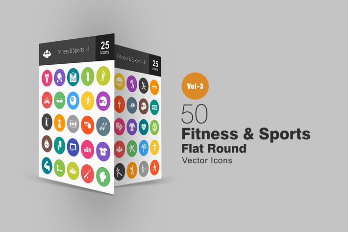 Thumbnail for 50 Fitness & Sports Flat Round Icons