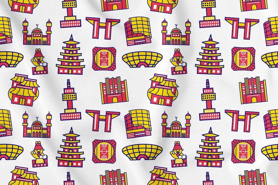 Seoul City Nahtloses Muster Vol. 1
