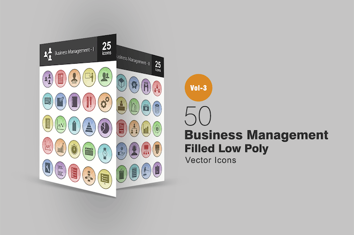 Thumbnail for 50 Business Management Filled Low Poly Icons