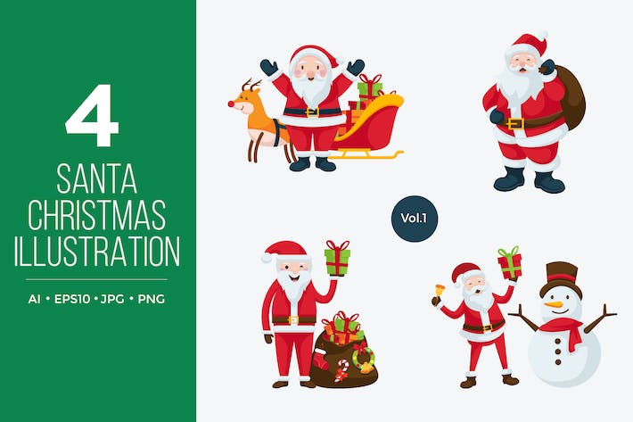 Thumbnail for Cute Santa Claus Vector Character Set 1