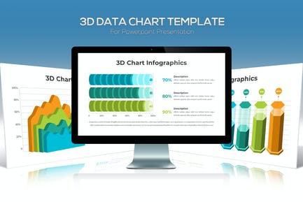 3D Data Chart For Powerpoint Presentation