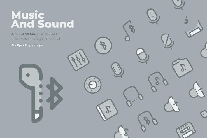 Thumbnail for 50 Music and Sound Icons  -  Two Tone Style