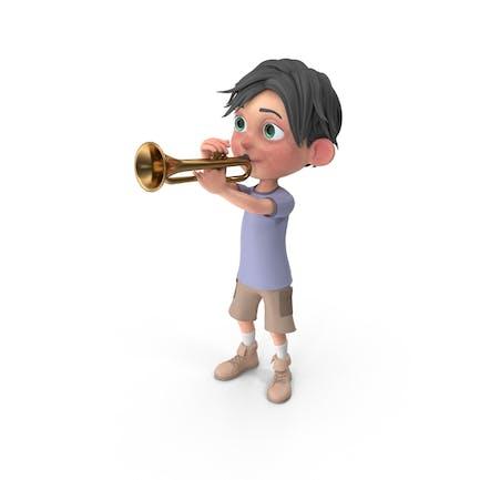 Cartoon Boy Jack Playing Trumpet