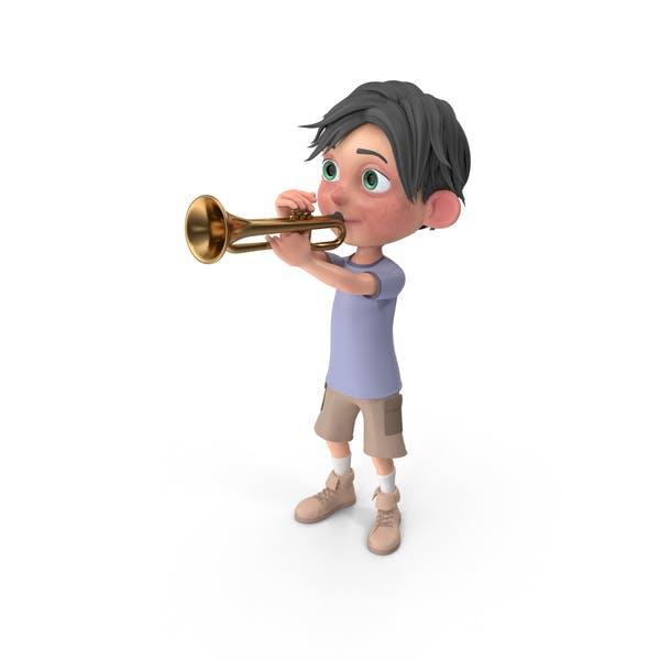Мультфильм мальчик Джек играет труба