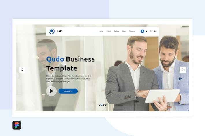 Thumbnail for Qudo Business Hero Header Template 3