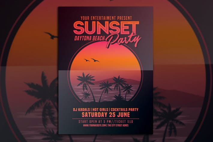 Thumbnail for Sunset Beach Party Flyer