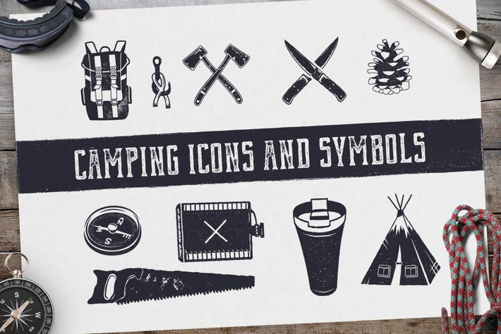 Thumbnail for Camping Retro Icons / Hiking Badge Symbols