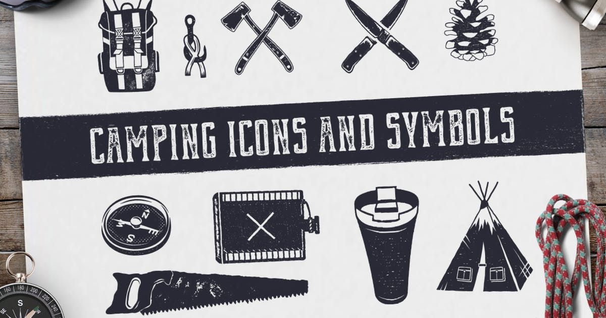 Download Camping Retro Icons / Hiking Badge Symbols by JeksonJS