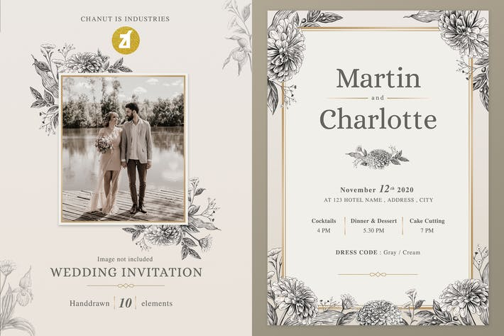 Zinnia and orchid vintage Wedding Invitation
