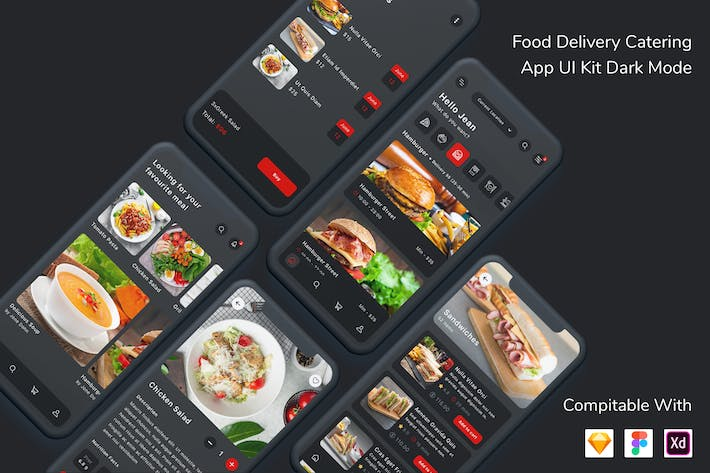 Thumbnail for Food Delivery Catering App UI Kit Dark Mode